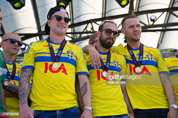 Sebastian Holmen John Guidetti Abdullah Khalili and Alexander Milosevic of Sweden U21 Team after they returned to Sweden victorious after winning...