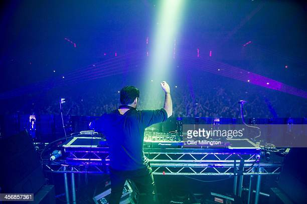 Sebastian Ingrosso performs on stage at Brixton Academy on December 14 2013 in London United Kingdom