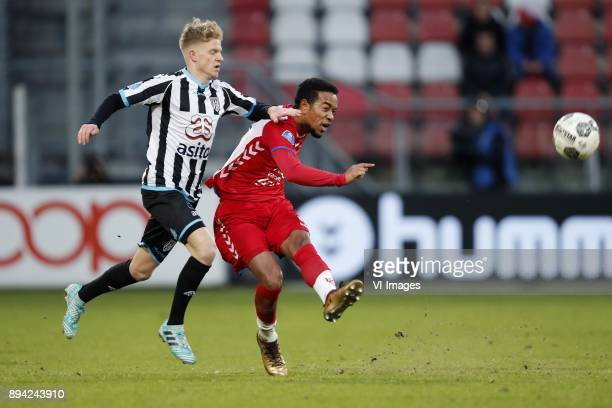 Sebastian Jakubiak of Heracles Almelo Urby Emanuelson of FC Utrecht during the Dutch Eredivisie match between FC Utrecht and Heracles Almelo at the...