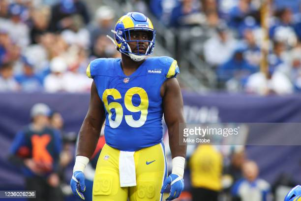 Sebastian Joseph-Day of the Los Angeles Rams in action against the New York Giants at MetLife Stadium on October 17, 2021 in East Rutherford, New...