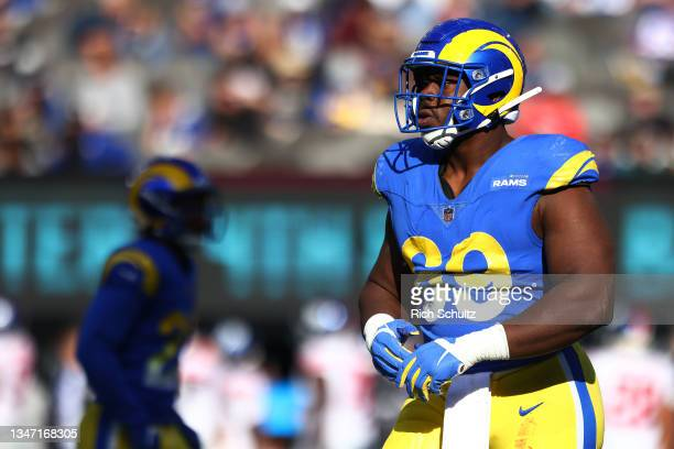 Sebastian Joseph-Day of the Los Angeles Rams in action against the New York Giants during a game at MetLife Stadium on October 17, 2021 in East...