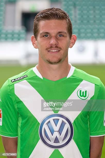 Sebastian Jung at the team presentation of VfL Wolfsburg on July 30 2014 in Wolfsburg Germany