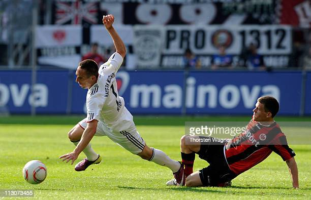 Sebastian Jung of Frankfurt battles for the ball with Franck Ribery of Muenchen during the Bundesliga match between Eintracht Frankfurt and FC Bayern...