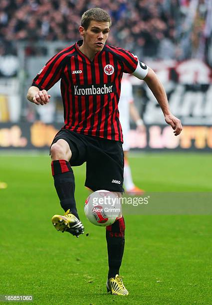 Sebastian Jung of Frankfurt controles the ball during the Bundesliga match between Eintracht Frankfurt and FC Bayern Muenchen at CommerzbankArena on...