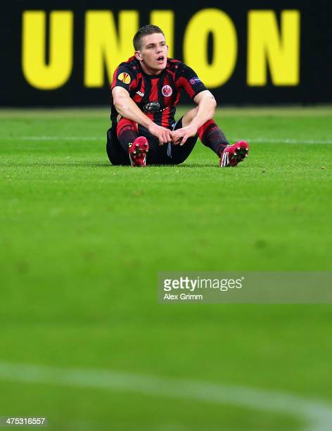 Sebastian Jung of Frankfurt reacts after the UEFA Europa League Round of 32 second leg match between Eintracht Frankfurt and FC Porto at Commerzbank...