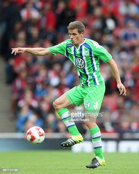 Sebastian Jung of Wolfsburg controls the ball during the Emirates Cup match between Arsenal and VfL Wolfsburg at the Emirates Stadium on July 26 2015...