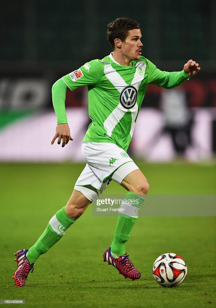 Sebastian Jung of Wolfsburg in action during the Bundesliga match between VfL Wolfsburg and 1899 Hoffenheim at Volkswagen Arena on February 7, 2015 in Wolfsburg, Germany.