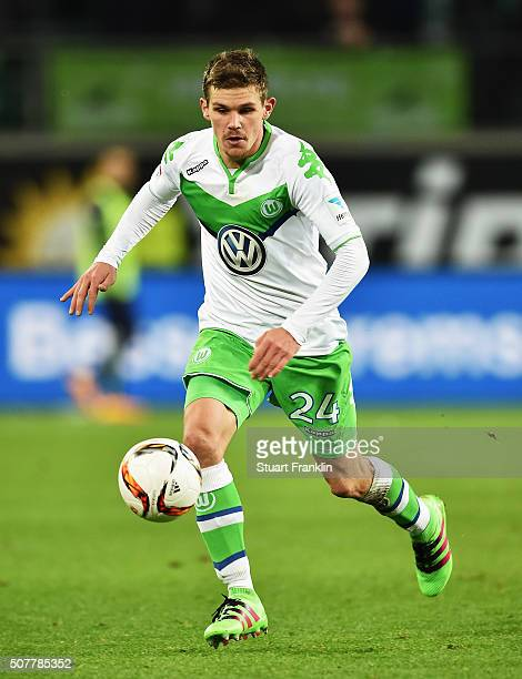 Sebastian Jung of Wolfsburg in action during the Bundesliga match between VfL Wolfsburg and 1 FC Koeln at Volkswagen Arena on January 31 2016 in...