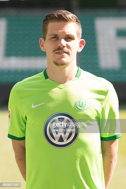 Sebastian Jung poses during the official team presentation of VfL Wolfsburg at Volkswagen Arena on September 14 2016 in Wolfsburg Germany
