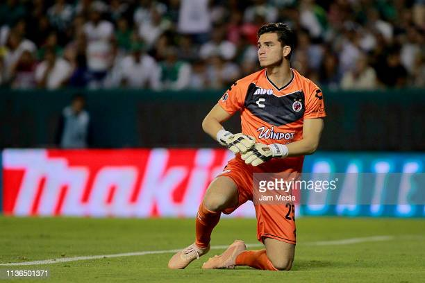 Sebastian Jurado goalkeeper of Veracruz reacts during the 11th round match between Leon and Veracruz as part of the Torneo Clausura 2019 Liga MX at...