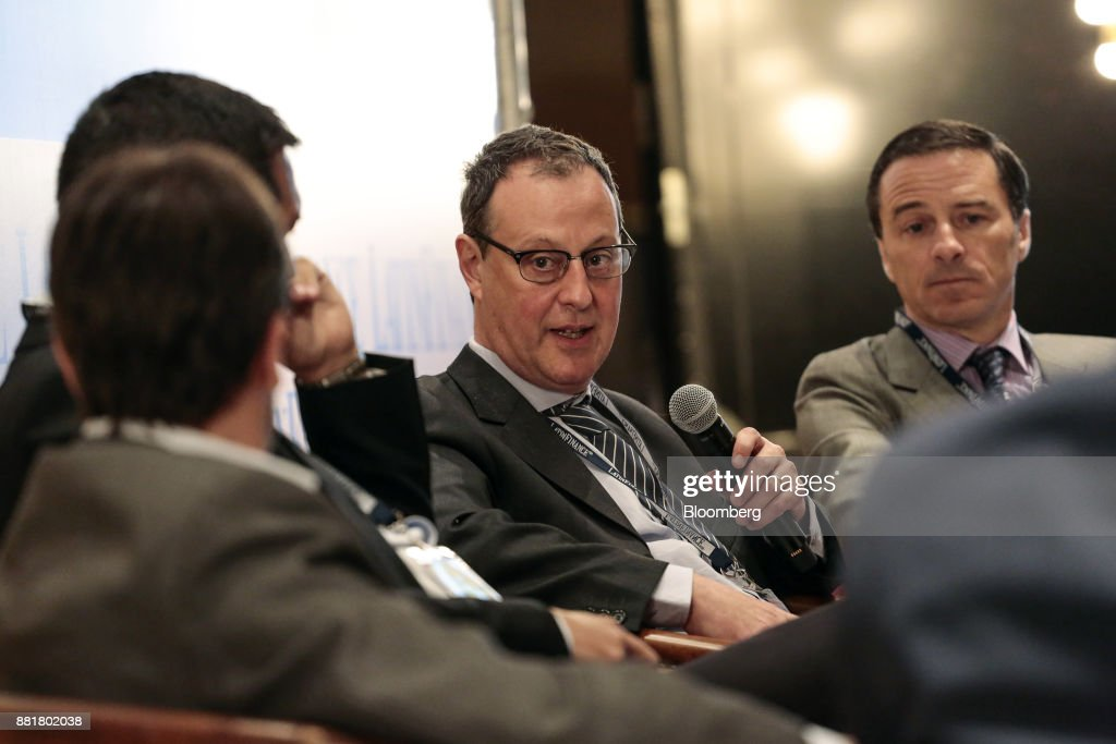 Sebastian Katz, deputy secretary of finance for Buenos Aires, center, speaks during the Argentina Sub-Sovereign and Infrastructure Finance Summit in Buenos Aires, Argentina, on Wednesday, Nov. 29, 2017. The event will join Argentina's provincial and municipal leaders together with regional and international investors, infrastructure developers, financiers and advisers to discuss sub-sovereign financial and investment strategies and explore what needs to be done to efficiently put capital to work in new infrastructure projects. Photographer: Sarah Pabst/Bloomberg via Getty Images