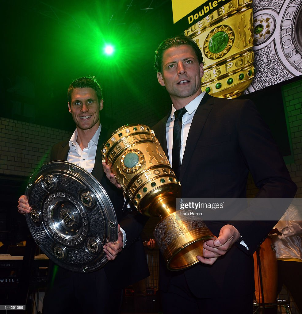 Sebastian Kehl and goalkeeper Roman Weidenfeller are seen during the Borussia Dortmund party at the Ewerk on May 13, 2012 in Berlin, Germany.