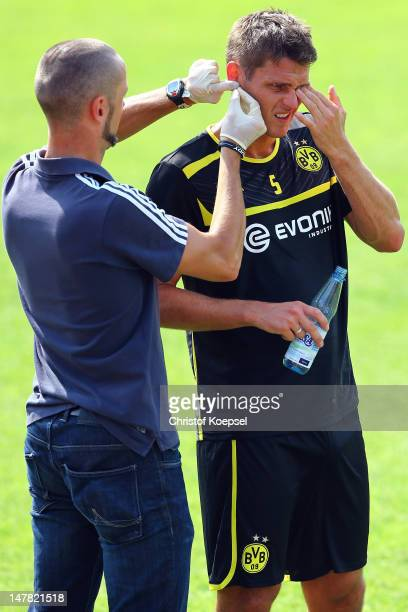 Sebastian Kehl gives blood during the lactate test of Borussia Dortmund at Hoesch Park on July 4 2012 in Dortmund Germany