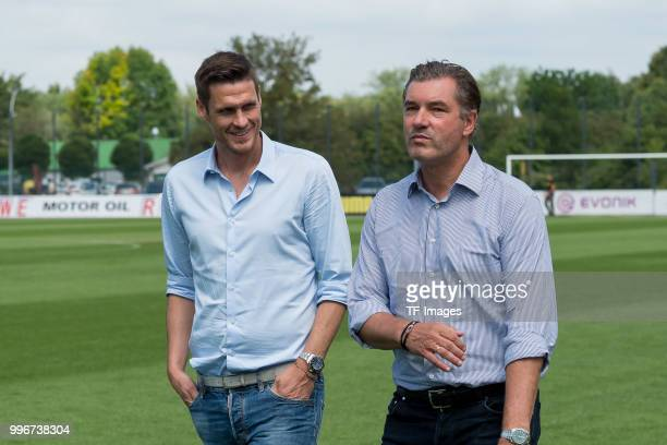 Sebastian Kehl of Dortmund and Michael Zorc of Dortmund looks on during a training session at BVB trainings center on July 9 2018 in Dortmund Germany