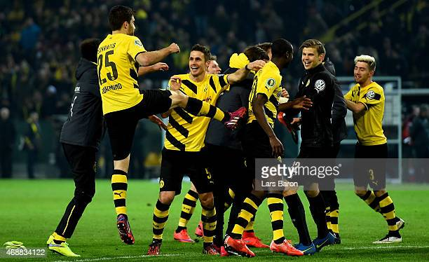 Sebastian Kehl of Dortmund celebrates with team mates after winning the DFB Cup Quarter Final match between at Borussia Dortmund and 1899 Hoffenheim...