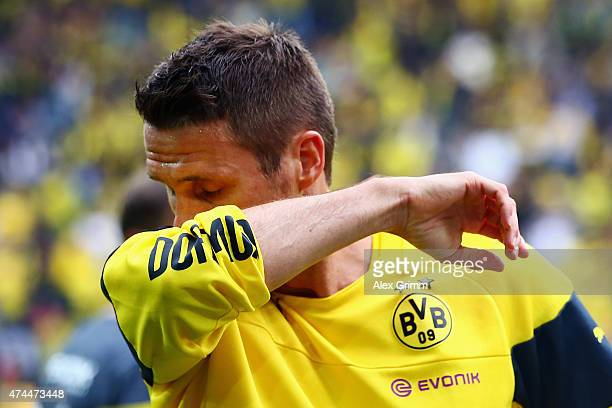 Sebastian Kehl of Dortmund reacts prior to the Bundesliga match between Borussia Dortmund and Werder Bremen at Signal Iduna Park on May 23 2015 in...