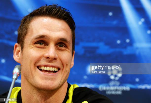 Sebastian Kehl smiles during a Borussia Dortmund press conference ahead of their UEFA Champions League round of 16 match against Shakhtar Donetsk at...