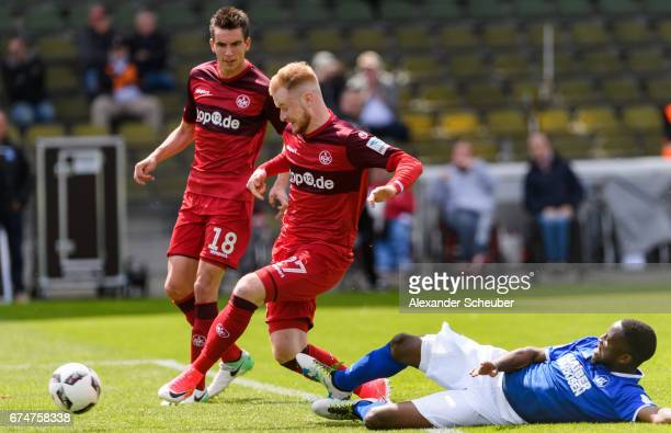 Sebastian Kerk of FC Kaiserslautern scores the second goal for his team during the Second Bundesliga match between Karlsruher SC and 1 FC...