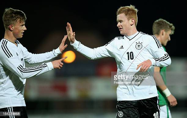 Sebastian Kerk of Germany celebrates after scoring the first goal with Yannick Gerhardt during the Under 19 EURO qualification match between U19...