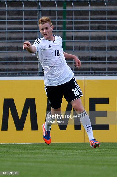 Sebastian Kerk of Germany celebrates after scoring their first goal during the Under 19 international friendly match between Germany and England at...