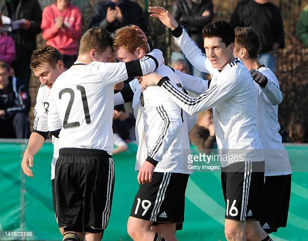 Sebastian Kerk of Germany celebrates his team´s first goal during the U18 international friendly match between Germany and France on March 20, 2012...