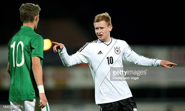 Sebastian Kerk of Germany celebrates scoring the first goal during the Under 19 EURO qualification match between U19 Ireland and U19 Germany on...