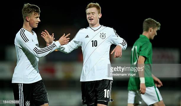 Sebastian Kerk of Germany celebrates scoring the first goal with Yannick Gerhardt during the Under 19 EURO qualification match between U19 Ireland...