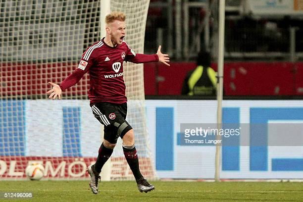 Sebastian Kerk of Nuernberg celebrates after scoring his team's first goal during the Second Bundesliga match between 1. FC Nuernberg and Greuther...
