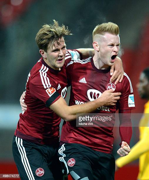 Sebastian Kerk of Nuernberg celebrates with Niclas Fuellkrug of Nuernberg after scoring the opening/first goal during the Second Bundesliga match...