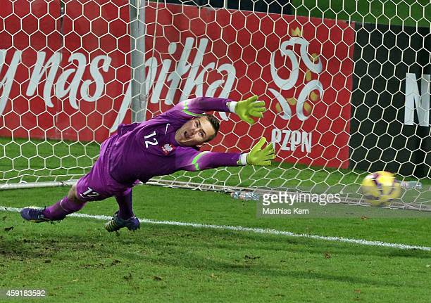 Sebastian Kerk scores the second goal after penalty during the U20 international friendly match between Germany and Poland at Florian Krygier Stadion...
