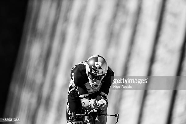 Sebastian Kienle of Germany competes in the cycling during the Ironman 703 World Championship Zell am See Kaprun on August 30 2015 in Zell am See...
