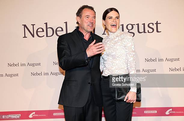 Sebastian Koch and Fritzi Haberlandt during the premiere of the film 'Nebel im August' at City Kino on September 27 2016 in Munich Germany