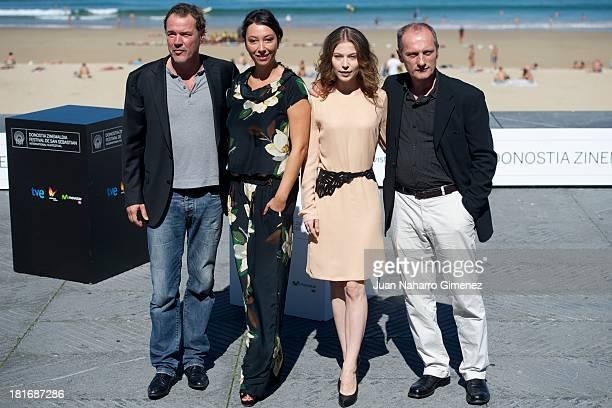 Sebastian Koch Ursula Strauss Nora von Waldstatten and Gotz Spielmann attend 'Oktober/November' photocall during 61st San Sebastian Film Festival on...