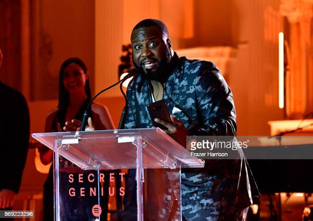 Sebastian Kole accepts the Secret Genius Social Message award onstage during Spotify's Inaugural Secret Genius Awards hosted by Lizzo at Vibiana on...