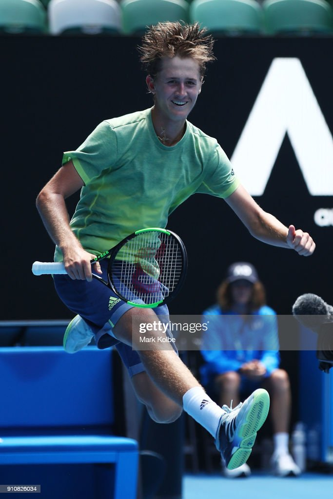 Sebastian Korda of the United States celebrates winning his Junior Boys' Singles Final against Chun Hsin Tseng of Chinese Taipei during the Australian Open 2018 Junior Championships at Melbourne Park on January 27, 2018 in Melbourne, Australia.