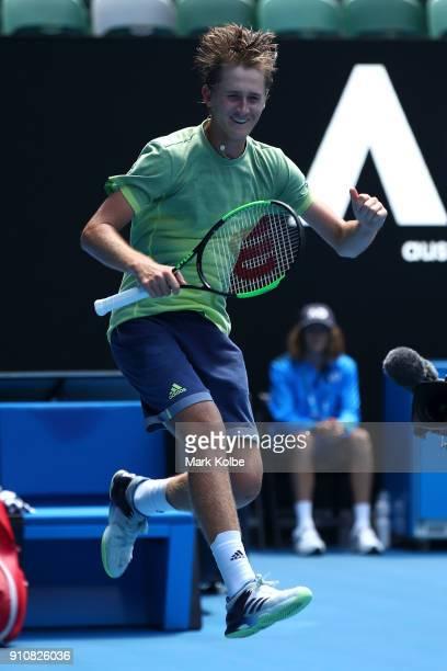 Sebastian Korda of the United States celebrates winning his Junior Boys' Singles Final against Chun Hsin Tseng of Chinese Taipei during the...
