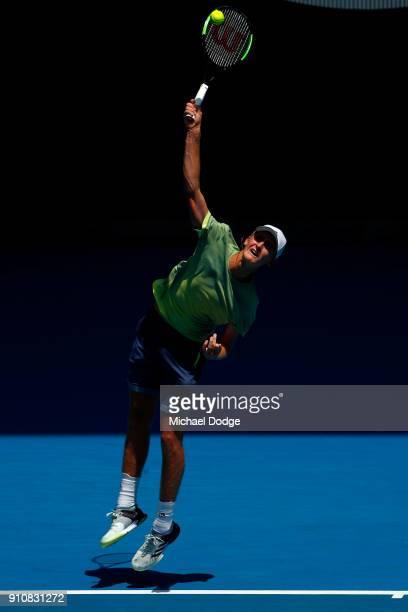 Sebastian Korda of the United States serves in his Junior Boys' Singles Final against Chun Hsin Tseng of Chinese Taipei during the Australian Open...