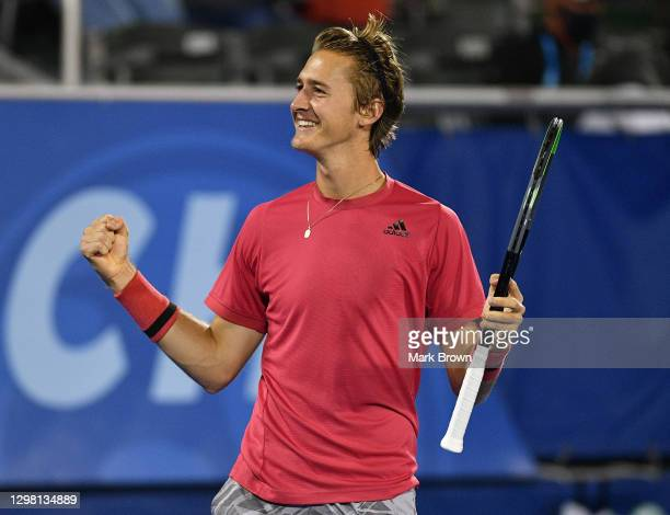 Sebastian Korda reacts after winning against Cameron Norrie of Great Britain during the Semifinals of the Delray Beach Open by Vitacost.com at Delray...