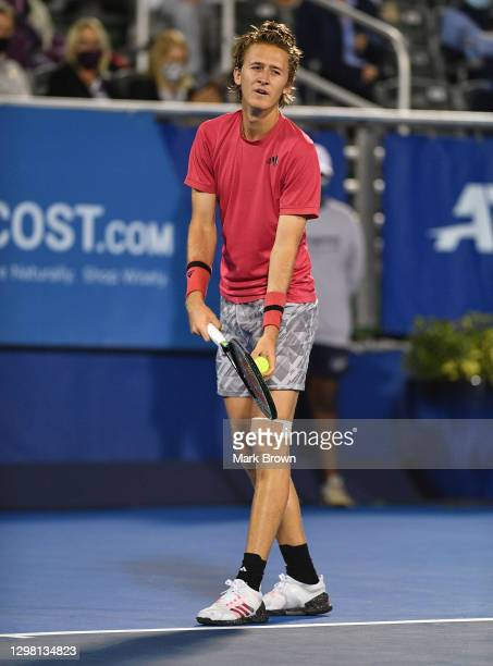Sebastian Korda serves to Cameron Norrie of Great Britain during the Semifinals of the Delray Beach Open by Vitacost.com at Delray Beach Tennis...