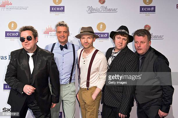 Sebastian Krumbiegel Jens Sembdner Wolfgang Lenk Tobias Kuenzel and Henri Schmidt of the band Die Prinzen attend the Echo Award 2016 on April 7 2016...