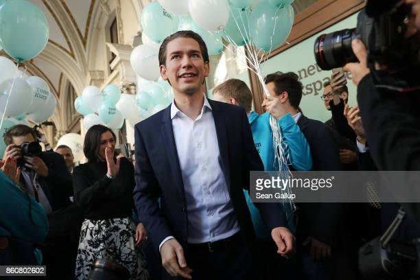 Sebastian Kurz Austrian Foreign Minister and leader of the conservative Austrian People's Party arrives to speak to supporters outside OeVP...