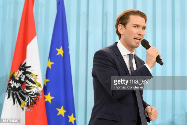 Sebastian Kurz Austrian Foreign Minister and leader of the conservative Austrian People's Party speaks at the party's election event after initial...