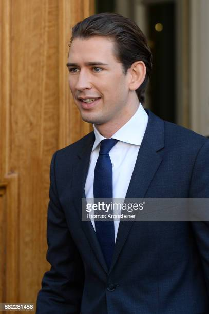 Sebastian Kurz Austrian Foreign Minister and leader of the conservative Austrian People's Party leaves after the decommissioning of the outgoing...