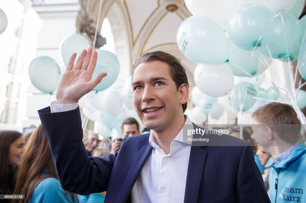Sebastian Kurz, Austria's foreign minister and leader of the People's Party (OeVP), waves as he arrives during his final campaign event in Vienna, Austria, on Friday, Oct. 13, 2017. The front-running Peoples Party shifted toward the Freedom Partys hard-line immigration stance, yet on the economy both parties hew to Germanys penchant for tight budgets in the euro area. Photographer: Lisi Niesner/Bloomberg via Getty Images