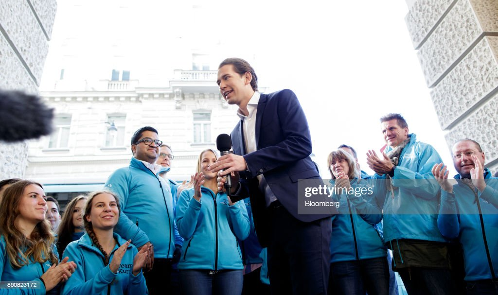 Sebastian Kurz, Austria's foreign minister and leader of the People's Party (OeVP), speaks during his final campaign event in Vienna, Austria, on Friday, Oct. 13, 2017. The front-running Peoples Party shifted toward the Freedom Partys hard-line immigration stance, yet on the economy both parties hew to Germanys penchant for tight budgets in the euro area. Photographer: Lisi Niesner/Bloomberg via Getty Images