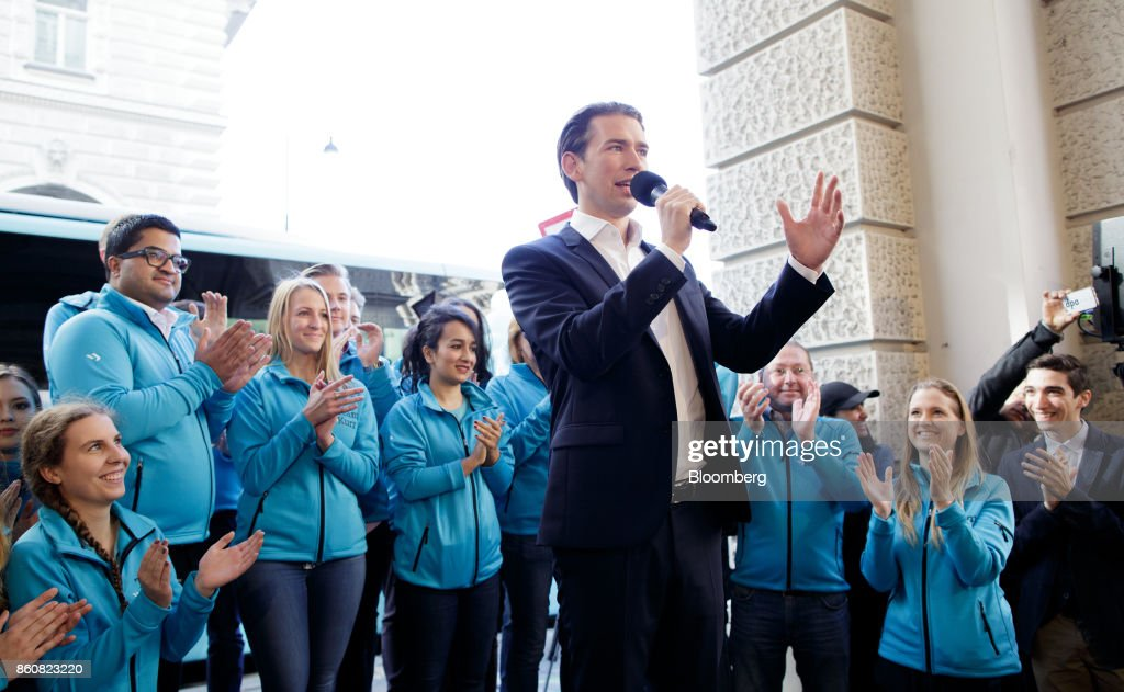 Sebastian Kurz, Austria's foreign minister and leader of the People's Party (OeVP), gestures as he speaks during his final campaign event in Vienna, Austria, on Friday, Oct. 13, 2017. The front-running Peoples Party shifted toward the Freedom Partys hard-line immigration stance, yet on the economy both parties hew to Germanys penchant for tight budgets in the euro area. Photographer: Lisi Niesner/Bloomberg via Getty Images