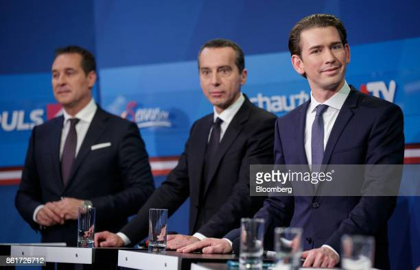 Sebastian Kurz Austria's foreign minister and leader of the People's Party from right Christian Kern Austria's chancellor and chairman of the Social...