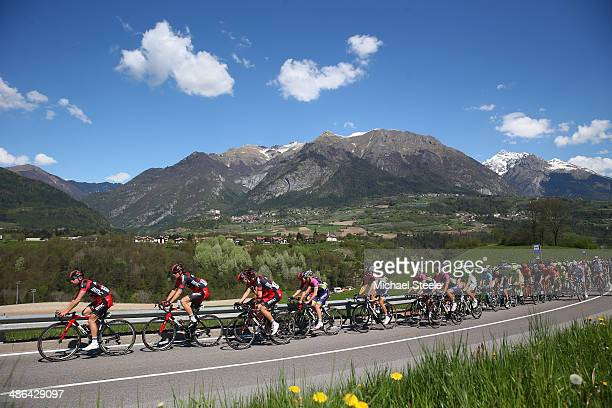 Sebastian Lander of Denmark and BMC Racing Team leads the peloton through the village of Dasindo during stage three of the Giro del Trentino from...