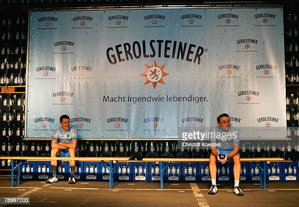 Sebastian Lang and Volker Orlowski take place for the official team shoot during the presentation of the German cycling team Gerolsteiner on January...