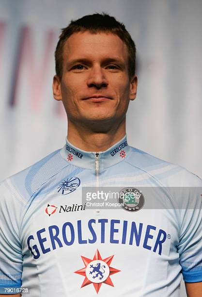 Sebastian Lang poses during the presentation of the German cycling team Gerolsteiner on January 15 2008 in Gerolstein Germany